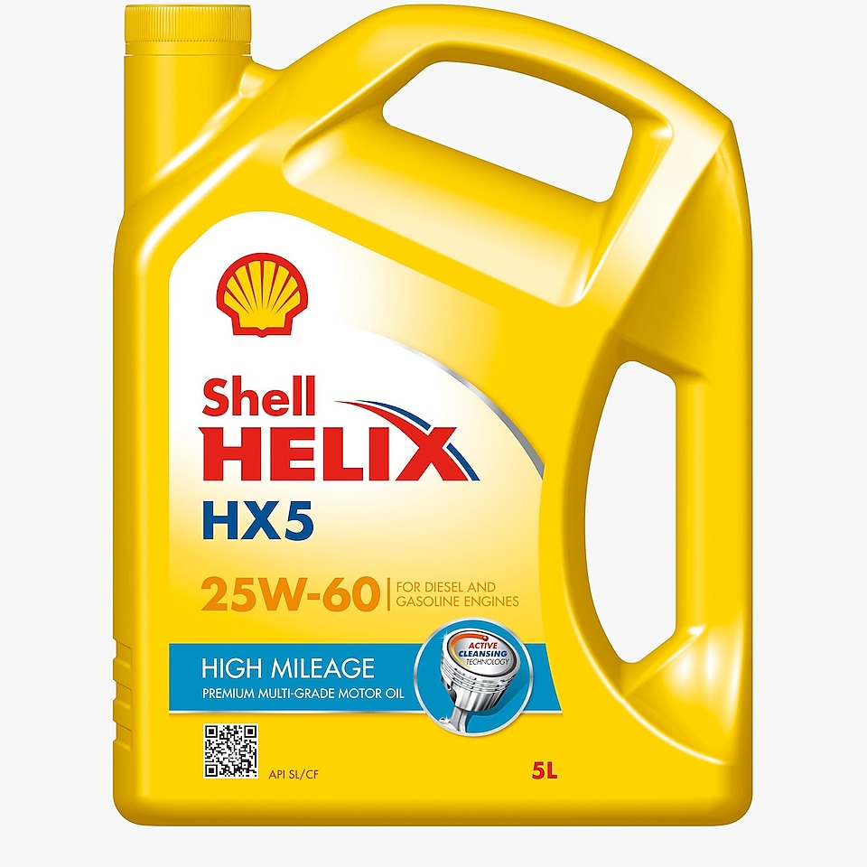 لقطة لعبوة زيت شل Helix HX5 High Mileage 25W-60 للمحركات القديمة