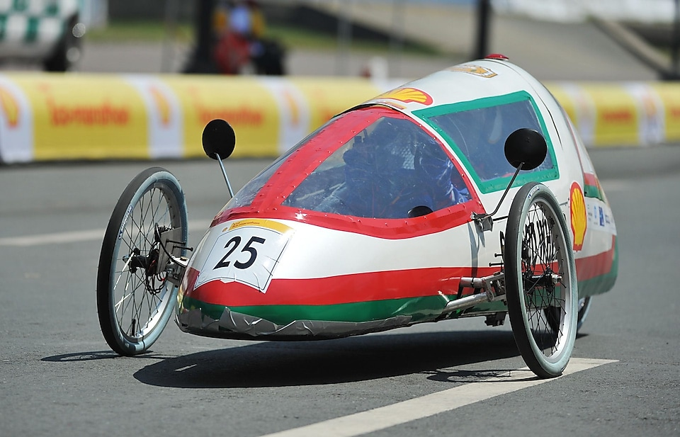 The SQU Eco Wheels, #25, a gasoline prototype vehicle from SQU team at the Sultan Qaboos University in Alkhoudh, Oman, on the track during final day of the Shell Eco-marathon Asia, in Manila, Philippines, Sunday, March 6, 2016.
