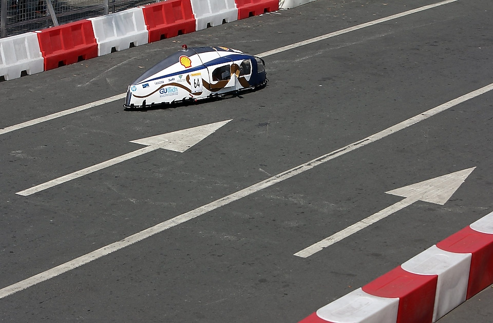 The Mean Machine, #64, Prototype, competing for Team Megalodon from The German University of Technology, Oman, on the track during day four of the Shell Eco-marathon in Manila, Philippines, Sunday, March 1, 2015.