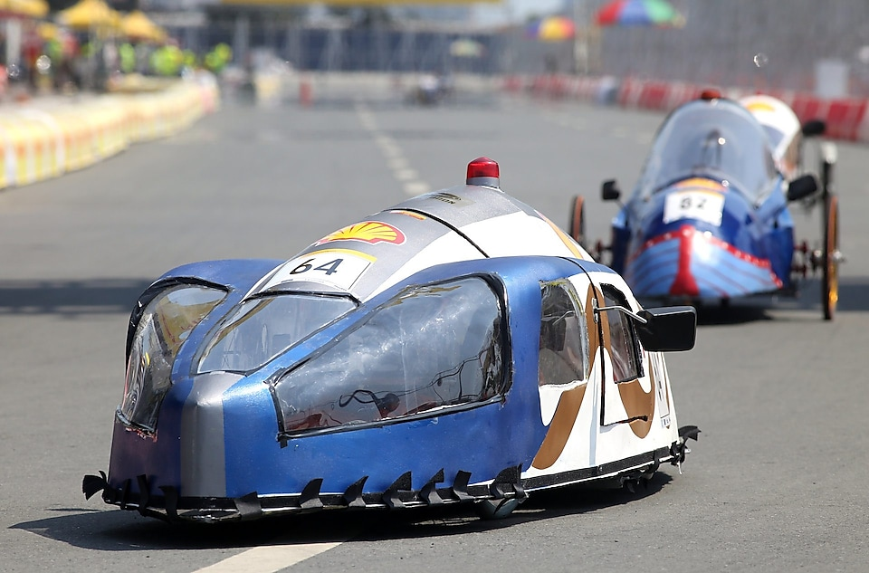 The Mean Machine, #64, Prototype, competing for Team Megalodon from The German University of Technology, Oman on the track during day four of the Shell Eco-marathon in Manila, Philippines, Sunday, March 1, 2015.