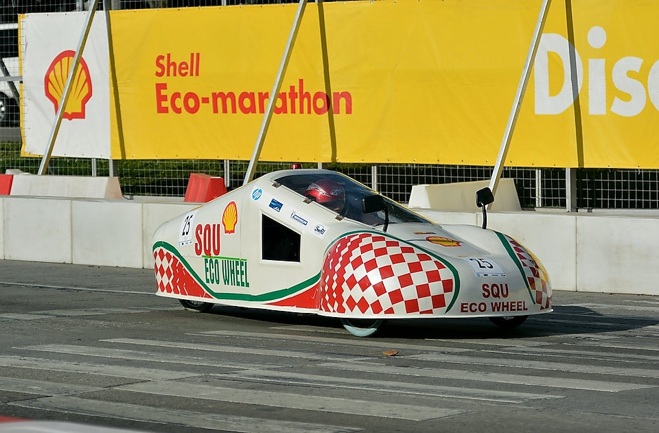 The SQU Eco Wheels, #25, Prototype, competing for SQU Team from Sultan Qaboos University, Oman on the track during day three of the Shell Eco-marathon in Manila, Philippines, Saturday, Feb. 28, 2015.